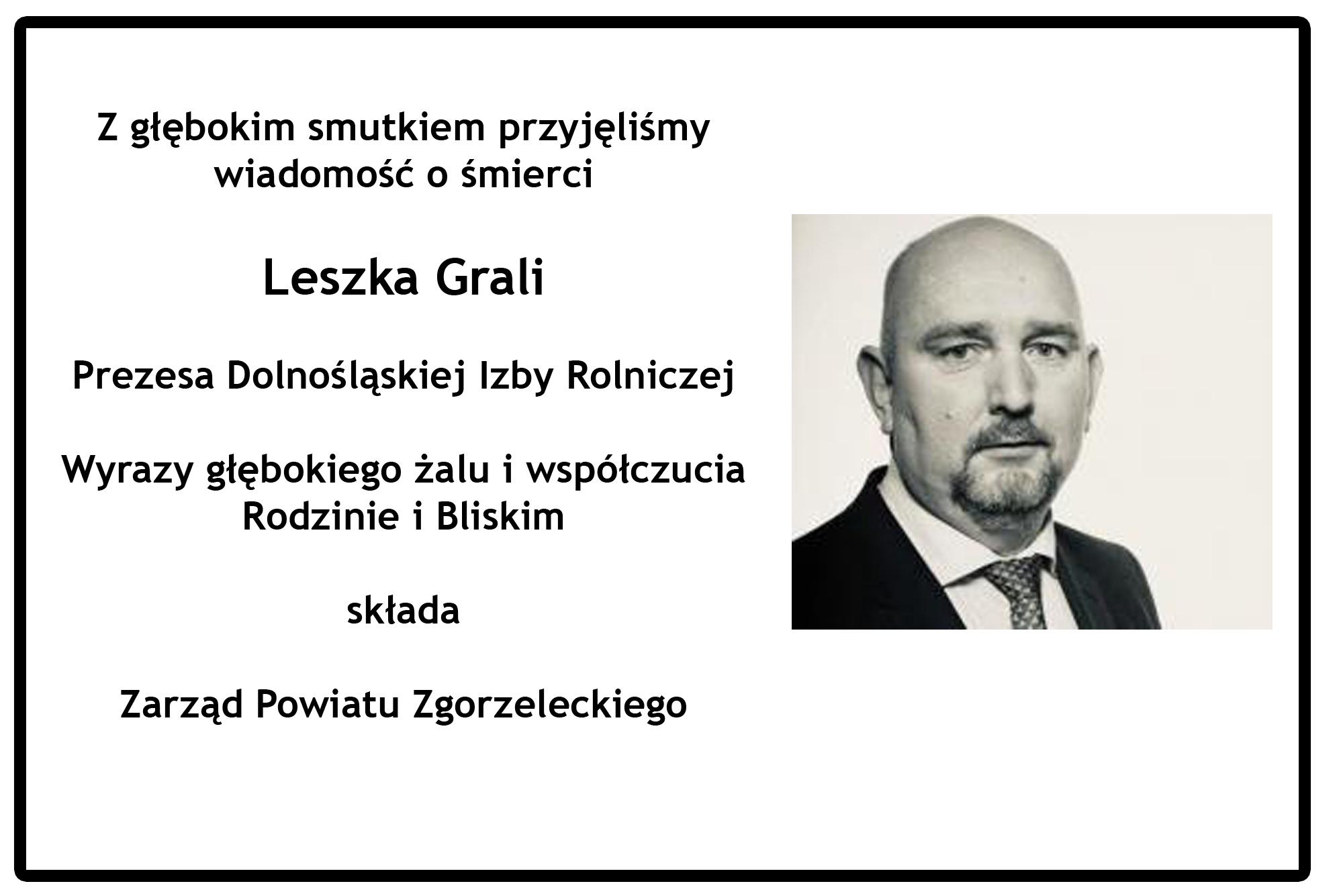 Nie żyje Leszek Grala. Prezes DIR