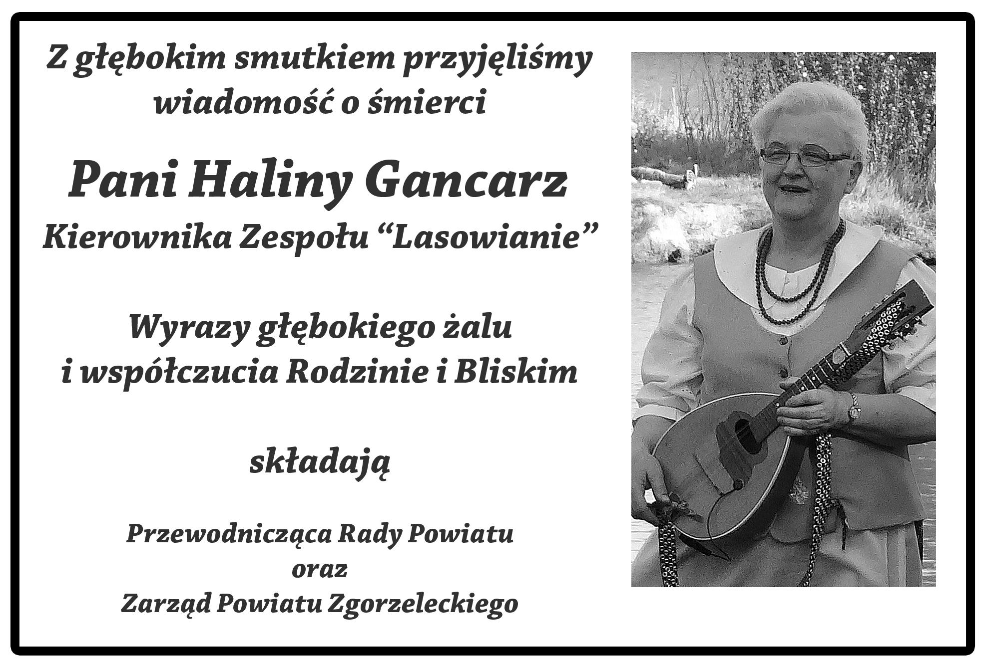 """Nie żyje Halina Gancarz. Kierownik Zespołu """"Lasowianie"""""""