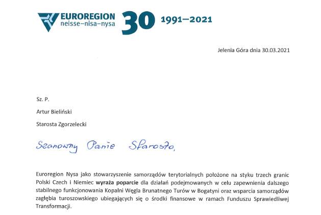Poparcie Euroregionu Nysa dla działań Zarządu ws. KWB Turów i FST