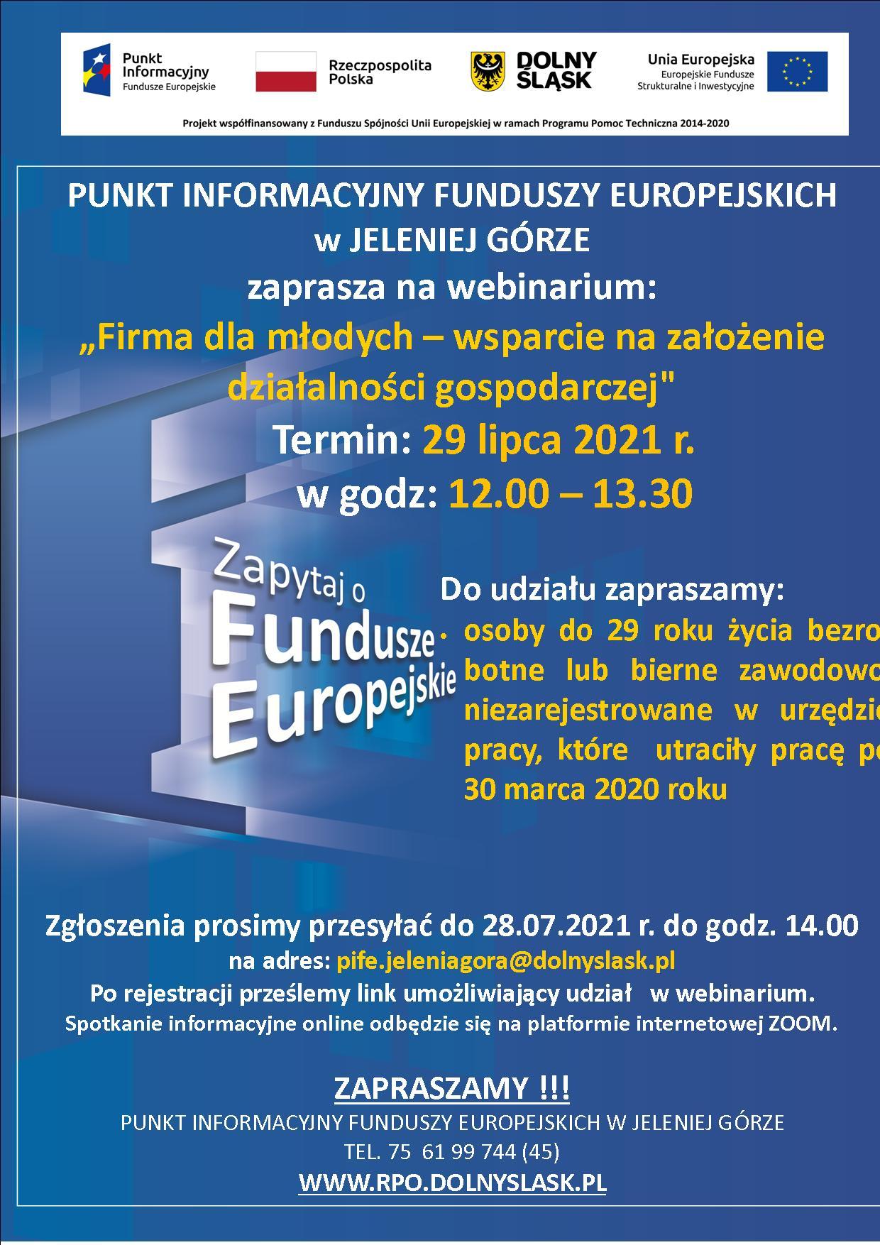 """Zaproszenie na webinarium """"Firma dla młodych – wsparcie na założenie działalności gospodarczej"""""""