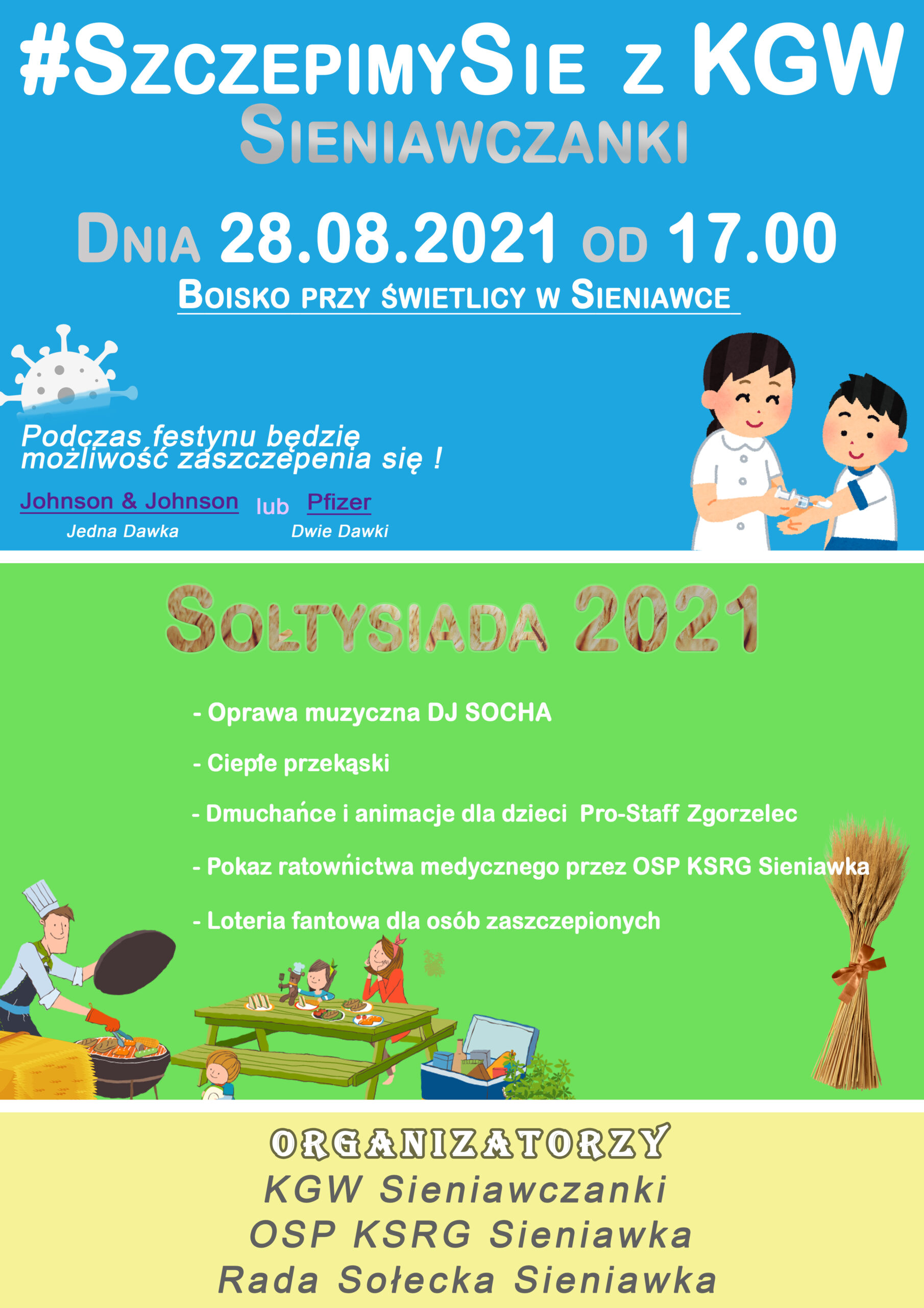 Impreza plenerowa w Sieniawce i możliwość szczepienia przeciw COVID-19